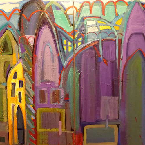 Jeanette Prout, Landscape Aligned, acrylic on canvas stretcher 100 x 90cm diptych. $1,100