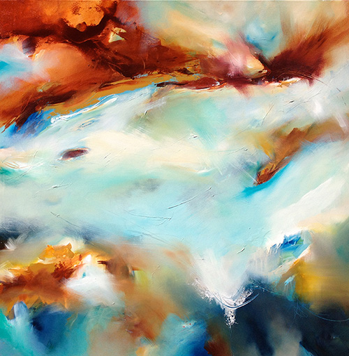 Joanne Duffy, Beach Lyrical, 2013. Oil/acrylic on canvas, 100 x 100cm, $2,600