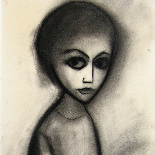 Robert Dickerson, Young Child c.1970, charcoal, 37 x 57cm. $6,500