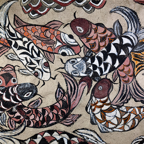 Ruth Law, Puzzling Fish, gouache and ink on handmade Japanese washi paper, 117 x 90cm. $4,100