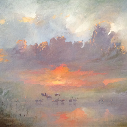 Carl Stringfellow, Wetland Scene With Ibis, 2013. Oil on board, 60 x 44cm. $2,850
