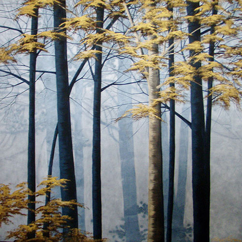 Cheryl Petersen, Night Forest, acrylic on canvas, 140 x 140cm.