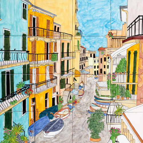 Virginia Arregui, A Colourful Life, Cinque Terre, 2013. Ceramic Tile, 67 x 97cm. $695