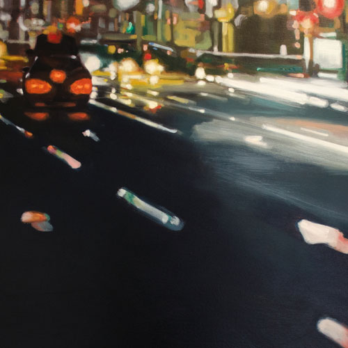 Karen Bloomfield, Red light district. Oil on canvas, 80 x 80cm. $1,250