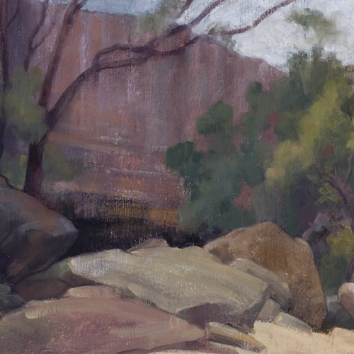 Kay Kane, The Drip Gorge (midday), 2014. Oil on linen board, 36cn x 28cm, $1,500